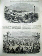 1852 illustrated newspaper wth early VIEWS of Honolulu HAWAII + text description