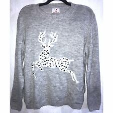 CHRISTMAS Womens Ladies Grey Sparkle Sequin Reindeer Xmas Jumper Top - Size L