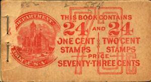 US #BK68 1c 24x /2c 24x Washington Combination Unexploded Booklet F MNH $100
