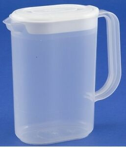 Brand New 1.5L Slimline Pour Plastic Fridge Door Jug Water Clear With White Lid