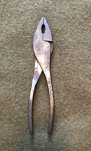 Vintage CRAFTSMAN 4507 7-1/2 Slip-Joint Pliers w/Cutters Diamond Handles USA