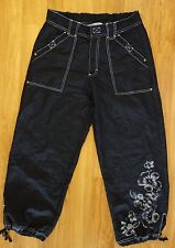 OLEG CASSINI Sport Black Pull String Ankle Pants wFloral Pattern Detail Size S