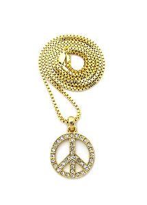 """Hip Hop Mini Pave Peace Sign Pendant 2mm 24"""" Box Chain Necklace RC1885G"""