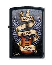 Zippo 4874, Fender Guitar-Long Live Rock, Black Matte Lighter, Full Size
