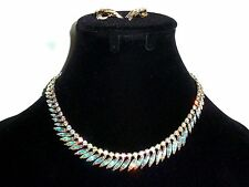 Sherman Vintage Swarovski Crystal AB Necklace and Earrings  Set