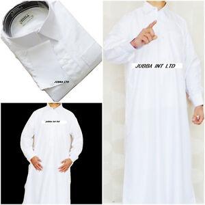 Arab saudi style -Jubba- jubbah-with collar & cuffs- Pure White - size 56-62