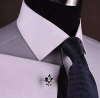 Grey Snakeskin Diamond Stud Formal Business Dress Shirt Sexy White Contrast Cuff