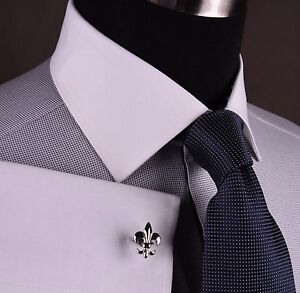 Grey Snakeskin Diamond Stud Formal Business Dress Shirt Sexy White Contrast Cuff