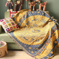 Vintage Jacquard Throw Blanket 100% Cotton Soft Couch Cover Cozy Sofa Blanket