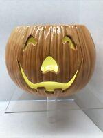 Vintage JACK O LANTERN Hand Painted Ceramic Pumpkin Halloween Candle No Lid 70s