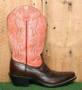 ARIAT 'Legend 85' Brown & Deep Pink Leather Western Cowgirl Boots Sz. 8B