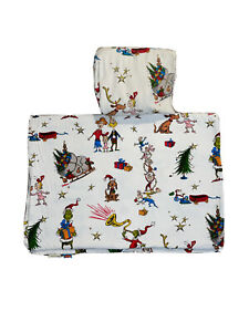 Pottery Barn Kids Dr. Seuss The Grinch Christmas Max Organic Flannel Twin Sheets