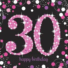 Pink Celebration 30th Birthday Luncheon Napkins 33cm - 16 pack