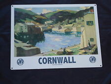 Cornwall Picture Plaque GWR Metal Sign Art Deco Retro /Travel By Train Railways