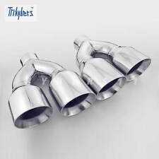 "Pair 2.5"" In Twin 4"" Out 11.8"" Long Dual Wall Quad Stainless Steel Exhaust Tips"