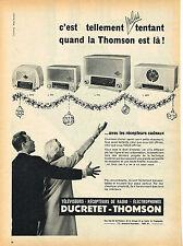 PUBLICITE ADVERTISING 114  1955  DUCRETET-THOMSON radio éléctrophone téléviseur
