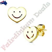 Pair Of 316L Surgical Steel Gold Ion Plated Smiley Face Heart Stud Earrings