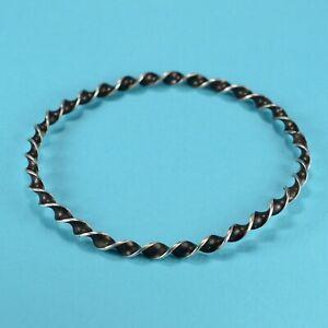 Vintage Sterling Silver Twisted Bangle Bracelet 7.5 inches  --1734