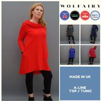 Womens Plus Size Cotton A Line Tunic Top Plain Lagenlook Loose Long Sleeve 16-42