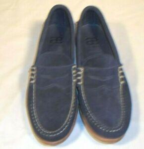 Allen Edmonds Suede Leather Sea Island Shoe Casual Loafer 9.5 D Medium Navy Blue