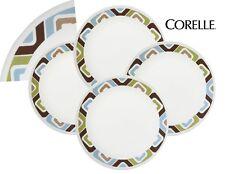 """4 Corelle Livingware SQUARED 6 3/4"""" BREAD PLATES Retro SQUARES Blue Green Brown"""