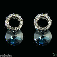 14k white Gold GF blue Austrian stone with Swarovski crystals stud earrings
