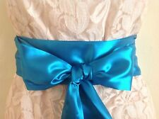 "3.5""X 60"" TEAL BLUE SATIN SASH BELT SELF TIE BOW UPDATE DRESS BRIDAL PARTY PROM"