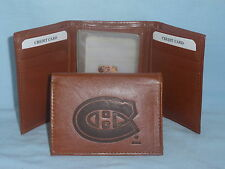 MONTREAL CANADIENS Leather TriFold Wallet NEW brown 3 k