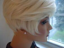 Vintage 14 kt Rose Gold Plate Stud Post Earrings Cubic Zircon        #161E.