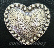 """Set of 6 WESTERN horse tack SADDLE ANTIQUE HEART BERRY CONCHOS 1-1/4"""""""