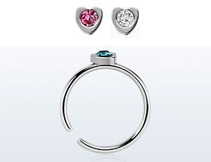 Fake Illusion Surgical steel clip on nose ring, with a pretty heart & gem