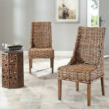 Safavieh St Thomas Indoor Wicker Brown Sloping Arm Chairs Set Of 2