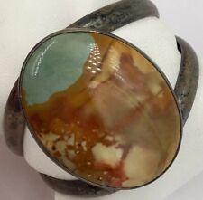 "Sterling Silver Large Desert Agate Cuff Bracelet 5.75"" Inside Circ. 43.0 Grams"