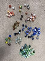Vintage Glass Marbles- 113 Lot -Agate Swirl Cat's eyes Variety Assorted