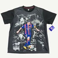 NEW Lionel Messi FCB Barcelona #10 Men's Photo Graphic Jersey Shirt Black • XL