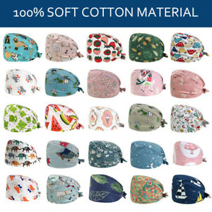 Unisex Cotton Cap Medical Surgical Hat Scrub Nurse Printed Working Surgeon Hat