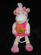Doudou musical boite à musique Vache Girafe blanche rose verte Nicotoy rayé pois