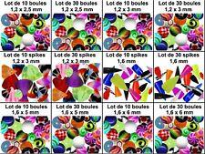 Lot boule seule piercing spike 1,2 mm 1,6 acrylique arcade labret tragus langue