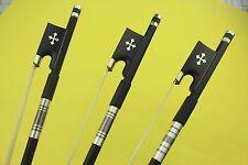 8 pcs new PRO 4/4 Carbon fiber violin bows Ebony Frog Inlaid Cross