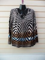 LADIES TOP TUNIC BROWN SIZE 10 ABTRACT ANIMAL PRINT STYLE DETAIL BNWT(G017