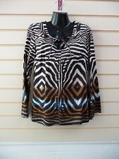 LADIES TOP TUNIC BROWN SIZE 10 ABTRACT ANIMAL PRINT STYLE DETAIL BNWT