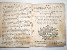 RARE LA SIBILLA CELESTE EFFEMERIDE TORINO 1757