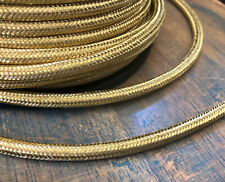 Brass Metal Covered Cord - Round 3wire Metal Braided Cable, Mesh Jack - Per Foot