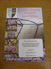 05/05/2013 Football Programme: Surrey County Girls Cup Finals - U15, U16 [At Red