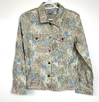 Analogy Women's Embroidered Retro Button Down Jacket Size M Stretch