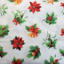 20 X Tovaglioli di carta pieno Confezione Festa Di Natale Bell Poinsettia Pranzo Tavola 51