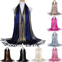 EG _ Mode Damen muslimisch lang weiche Baumwolle Schal Halstuch Troddel Stola