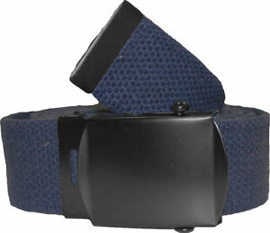 NAVY BELT WITH BLACK BUCKLE 100% Cotton Military Web Belts Rothco 4294