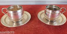 paire tasses métal argenté decor ruban croisé tea coffee cup