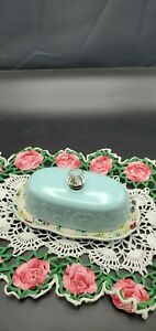 Pioneer Woman Turquoise Butter Dish Glass Knob Floral Burst Stoneware 8 inches